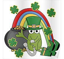 St. Patrick's Day Frog Rainbow Gold Poster