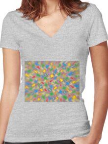 Brush Strokes Women's Fitted V-Neck T-Shirt