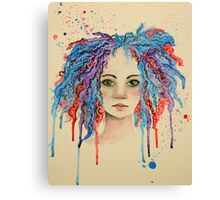 Girl with the coloured hair Canvas Print