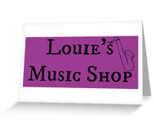 """Welcome To Night Vale """"Louie's Music Shop"""" Black Writing, Purple Background Greeting Card"""