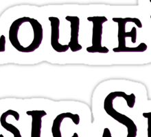 """Welcome To Night Vale """"Louie's Music Shop"""" Black Writing, White Background Sticker"""