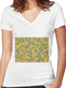 Warm Brush Strokes Women's Fitted V-Neck T-Shirt