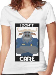 Minimalist Water Buffalo Women's Fitted V-Neck T-Shirt