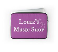 "Welcome To Night Vale ""Louie's Music Shop"" White Writing, Purple Background Laptop Sleeve"