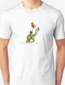 Party Penguin on a Dinosaur T-Shirt