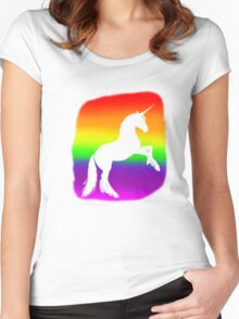 Unicorn Rainbow Silhouette Women's Fitted Scoop T-Shirt