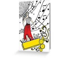 Music Diva with Musical Notes and Cheering Crowd Greeting Card