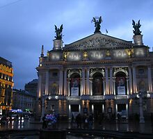 Lviv Opera House at twilight by Elena Skvortsova