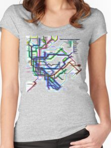 NYC Subway Map Women's Fitted Scoop T-Shirt