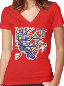 NYC Subway Map Women's Fitted V-Neck T-Shirt