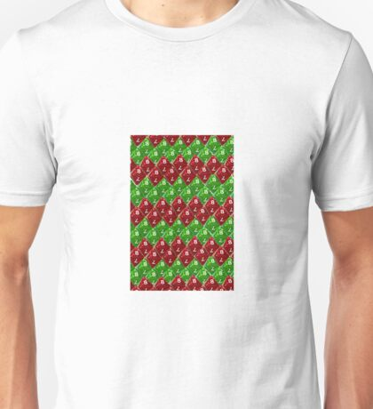 Red and  Green Scale Dice D8 Zig Zag Unisex T-Shirt