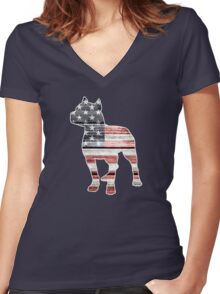 Patriotic Pitbull, American Flag Women's Fitted V-Neck T-Shirt