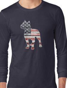 Patriotic Pitbull, American Flag Long Sleeve T-Shirt