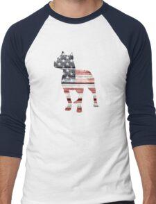 Patriotic Pitbull, American Flag Men's Baseball ¾ T-Shirt