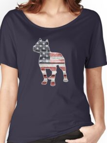 Patriotic Pitbull, American Flag Women's Relaxed Fit T-Shirt