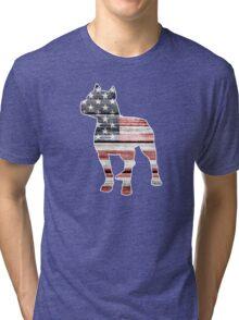 Patriotic Pitbull, American Flag Tri-blend T-Shirt