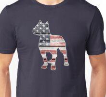Patriotic Pitbull, American Flag Unisex T-Shirt