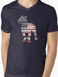 Patriotic Pitbull, American Flag Mens V-Neck T-Shirt