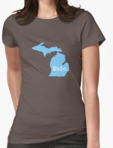 Michigan Home MI Pride Detroit Made Blue Womens Fitted T-Shirt