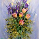 The Gift from Ariel. Irises, Tulips and Mimosa. by Natalia Lvova