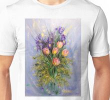 The Gift from Ariel. Irises, Tulips and Mimosa. Unisex T-Shirt
