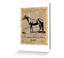 Horse Champion Colt Over Vintage Dictionary Page Greeting Card