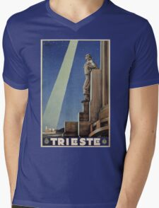 Vintage Art Deco Trieste Italian travel Mens V-Neck T-Shirt