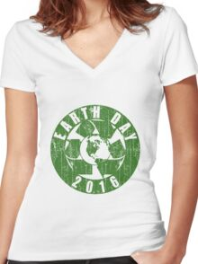Vintage Earth Day Recycle 2016 Women's Fitted V-Neck T-Shirt