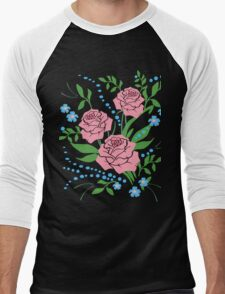 Red Roses and Flowers Floral Men's Baseball ¾ T-Shirt