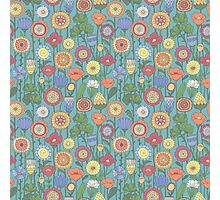 Bright color background of wildflowers doodles Photographic Print