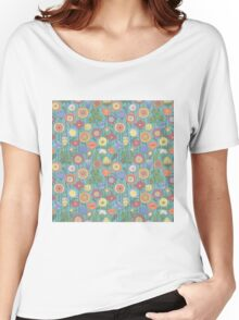 Bright color background of wildflowers doodles Women's Relaxed Fit T-Shirt