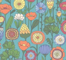 Bright color background of wildflowers doodles Sticker