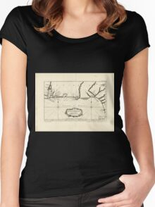 American Revolutionary War Era Maps 1750-1786 391 Carte de la coste de la Floride depuis la baye de la Mobile jusqu'aux cayes de St Martin Women's Fitted Scoop T-Shirt