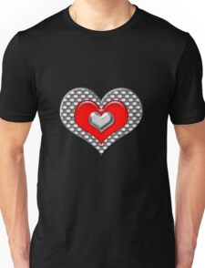 Red and silver heart Unisex T-Shirt