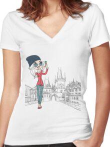 Cute girl makes selfie in Prague Women's Fitted V-Neck T-Shirt