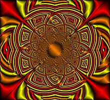 Silk Mandala - Ruby & Gold Photographic Print