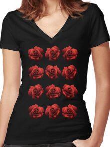 A Dozen Red Roses Women's Fitted V-Neck T-Shirt