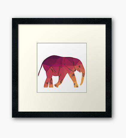 Geometric elephant pink colour Framed Print