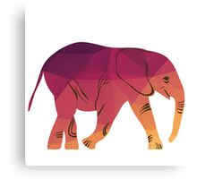 Geometric elephant pink colour Canvas Print