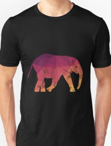 Geometric elephant pink colour Unisex T-Shirt