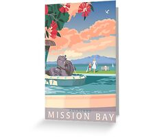 Mission Bay Fountain with Pohutukawa Greeting Card