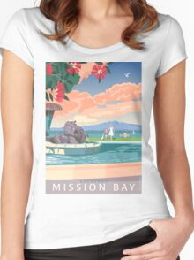 Mission Bay Fountain with Pohutukawa Women's Fitted Scoop T-Shirt
