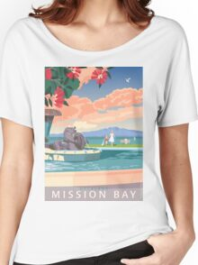 Mission Bay Fountain with Pohutukawa Women's Relaxed Fit T-Shirt