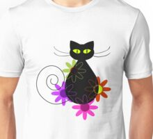 Black cat among flowers Unisex T-Shirt