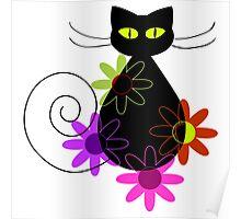 Black cat among flowers Poster