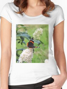 RED ADMIRAL BUTTERFLY ON WHITE BUDDLEIA  Women's Fitted Scoop T-Shirt
