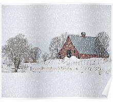 Idaho Falls Country Red Barn - Blizzard Poster