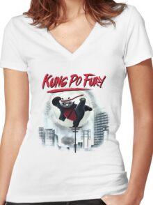 Kung Po Fury Women's Fitted V-Neck T-Shirt