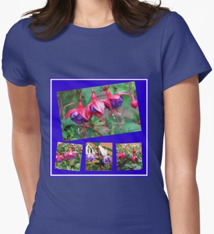 Dancing Fuchsia Belles - Summer Flowers Collage Womens Fitted T-Shirt