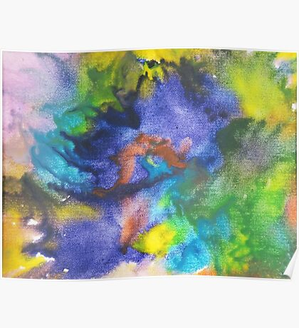 Cool Colors Tie Dye Style Crayon Art Poster